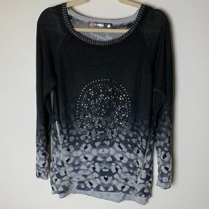 Desigual Sweater Size Small Side Zippers Bling